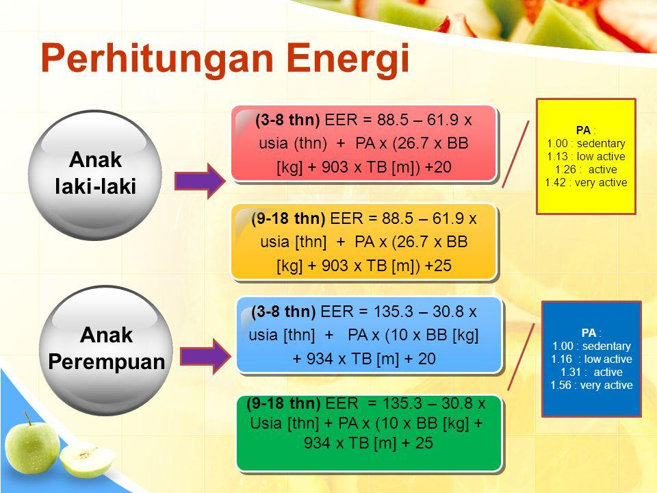 Usia [thn] + PA x (10 x BB [kg] +